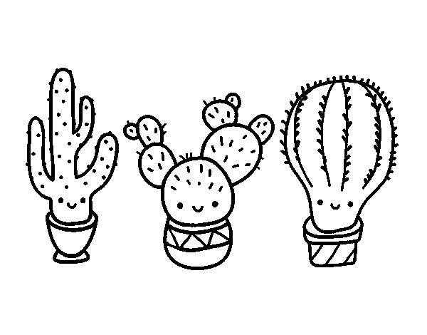 Coloriage de 3 mini cactus pour Colorier