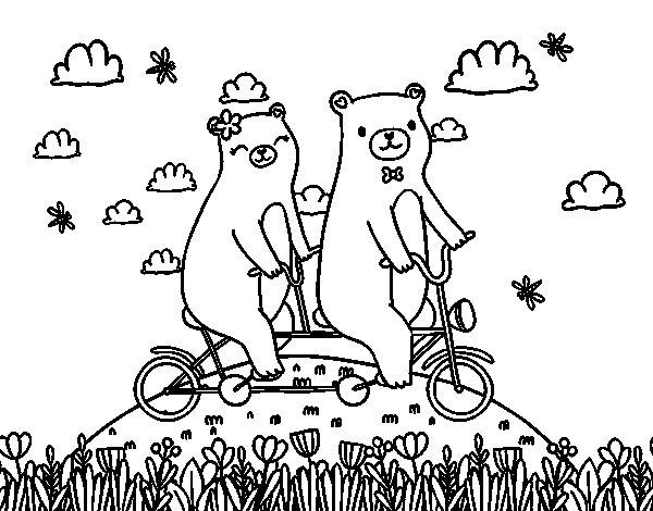 Coloriage de Amour des ours pour Colorier