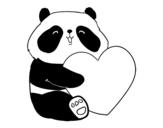 <span class='hidden-xs'>Coloriage de </span>Amour Panda à colorier