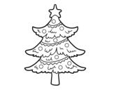 <span class='hidden-xs'>Coloriage de </span>Arbre de Noël décoré à colorier