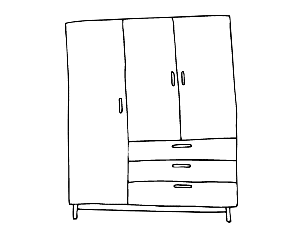 Coloriage de armoire grand pour colorier - Dessin d armoire ...