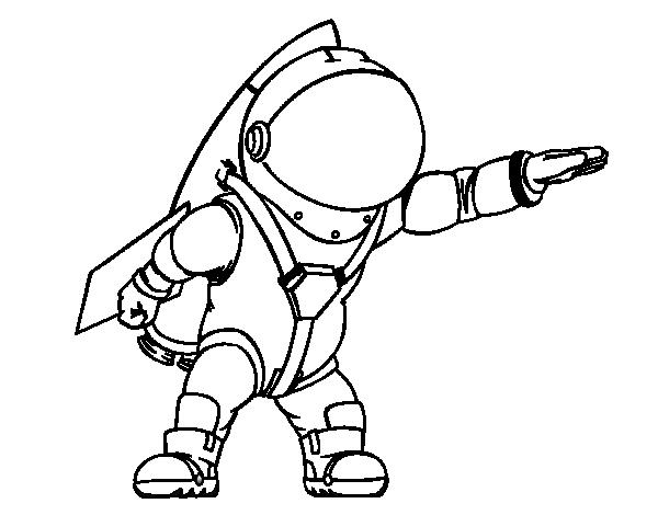 Coloriage De Astronaute Avec Fusée Pour Colorier