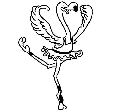 Coloriage de Autruche dans un ballet pour Colorier
