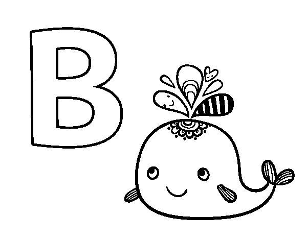Coloriage de B de Baleine pour Colorier