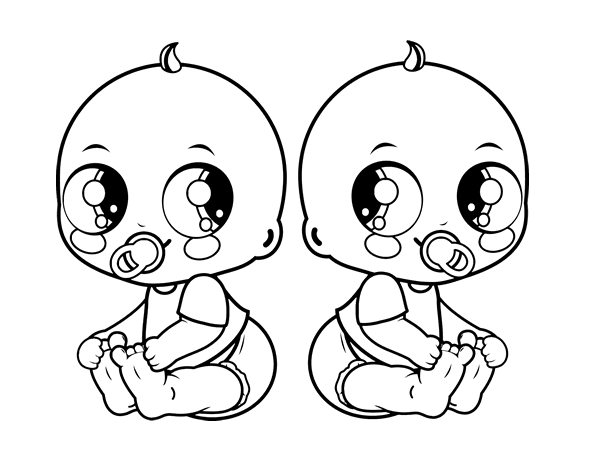 Black And White Baby Coloring Page
