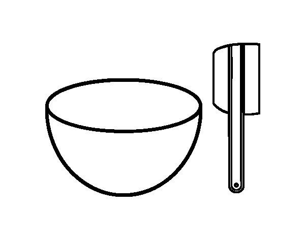 Coloriage de Bol et spatule pour les gâteaux pour Colorier