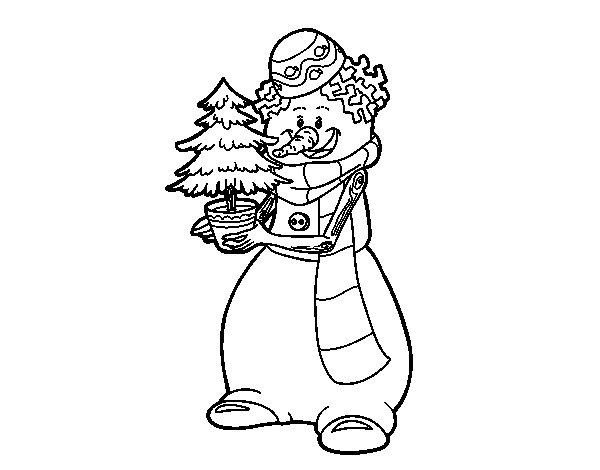 Coloriage de Bonhomme de neige avec arbre de Noël pour Colorier