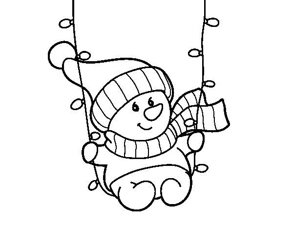 Coloriage de Bonhomme de neige se balancer pour Colorier