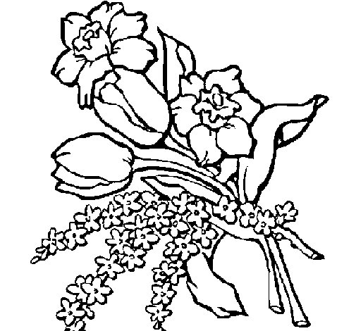 Coloriage de Bouquet de fleurs pour Colorier