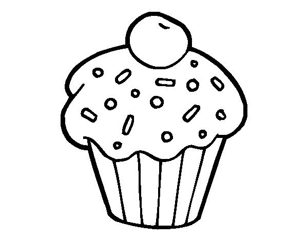 Coloriage de brownie avec cerise pour colorier - Cerise dessin ...