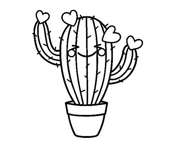 Coloriage de cactus coeur pour colorier - Coloriage cactus ...