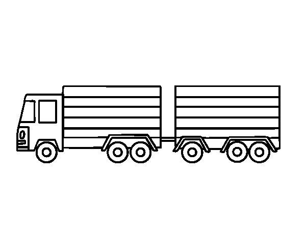 Coloriage de Camion avec remorque pour Colorier