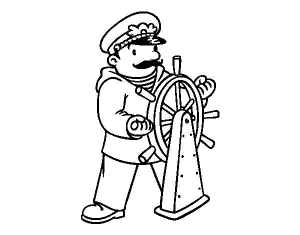 Coloriage de Capitaine du navire pour Colorier