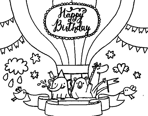 Coloriage de Carte Joyeux anniversaire pour Colorier