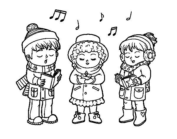 Coloriage de Chanteurs de Noël pour Colorier