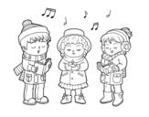 <span class='hidden-xs'>Coloriage de </span>Chanteurs de Noël à colorier