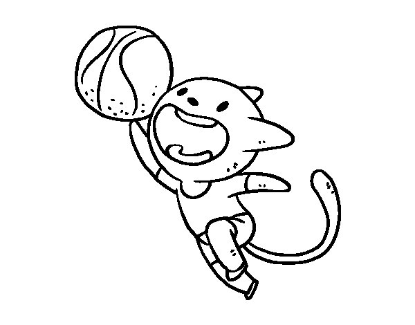 Coloriage de Chat Basket pour Colorier