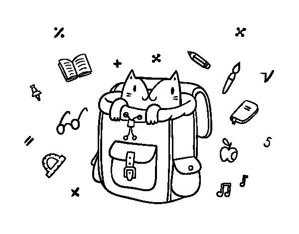 Coloriage de Chat dans un sac à dos pour Colorier