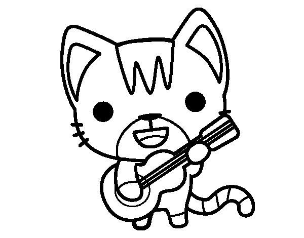Coloriage de Chat guitariste pour Colorier