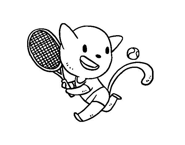 Coloriage de Chat tenis pour Colorier