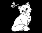 <span class='hidden-xs'>Coloriage de </span>Chaton et Papillon à colorier
