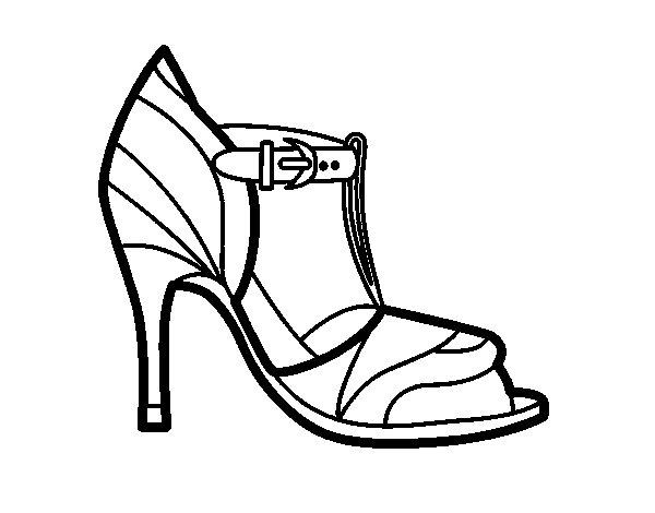 Coloriage de Chaussure à talon avec pointe découverte pour Colorier