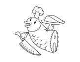 <span class='hidden-xs'>Coloriage de </span>Chef Poisson à colorier