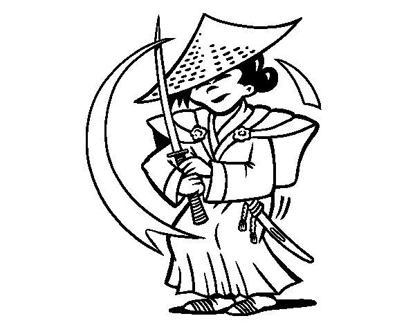 Coloriage de chinois avec sabre pour colorier - Dessin de sabre ...