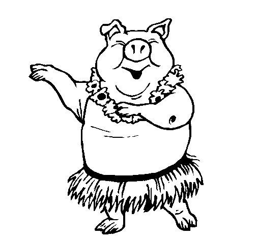 Coloriage de Cochon hawaïen pour Colorier