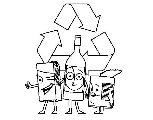 Coloriage de Contenants de recyclage pour Colorier