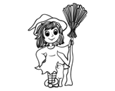 <span class='hidden-xs'>Coloriage de </span>Costume de sorcière d'Halloween à colorier