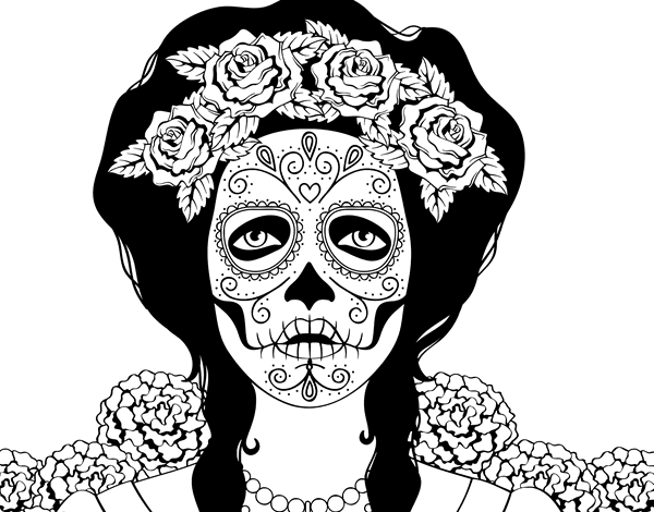 Coloriage de cr ne mexicain femme pour colorier - Coloriage de crane ...