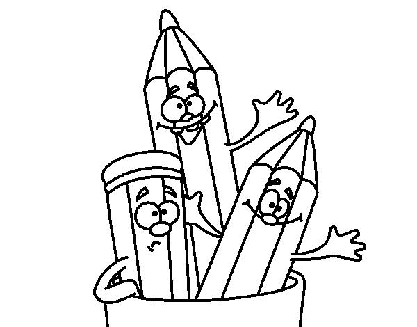 Coloriage de crayons de couleur pour colorier for Dessin facile a refaire