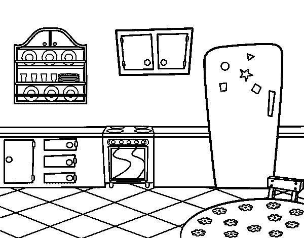 coloriage de cuisine traditionnel pour colorier. Black Bedroom Furniture Sets. Home Design Ideas