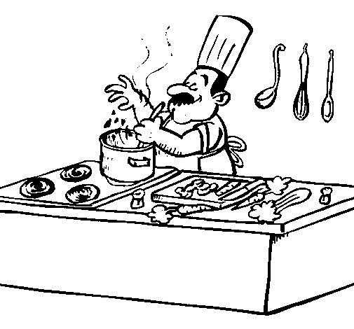 Coloriage de cuisinier dans la cuisine pour colorier - Coloriage cuisinier ...
