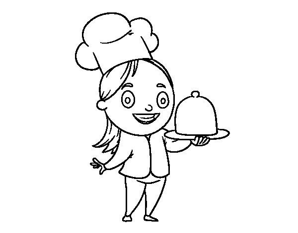 Coloriage de Cuisinierère avec plateau pour Colorier