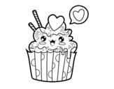 <span class='hidden-xs'>Coloriage de </span>Cupcake kawaii à colorier