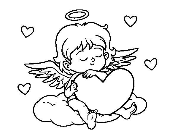 Coloriage de Cupidon avec le coeur pour Colorier