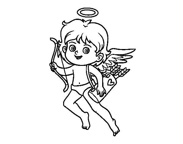 Coloriage de Cupidon avec son arc magique pour Colorier