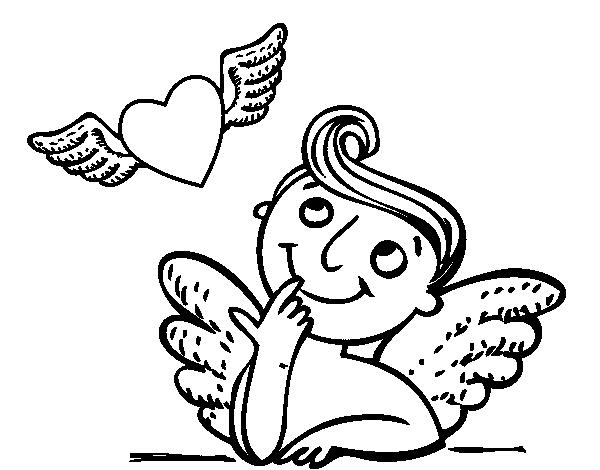 Coloriage de cupidon et c ur avec des ailes pour colorier - Dessin de coeur avec des ailes ...