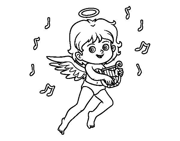 Coloriage de Cupidon jouant de la harpe pour Colorier