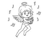Dibujo de Cupidon jouant de la harpe