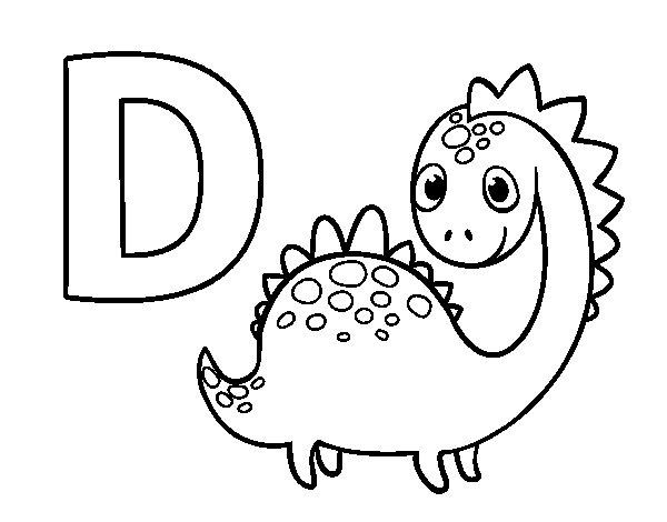 Coloriage de D de Dinosaure pour Colorier