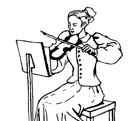 Coloriage de Dame violonniste pour Colorier