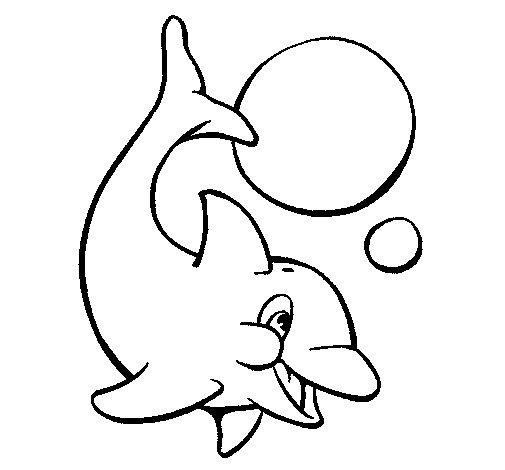 Coloriage de Dauphin jouant avec une balle pour Colorier
