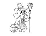 <span class='hidden-xs'>Coloriage de </span>Déguisement de sorcière Halloween à colorier