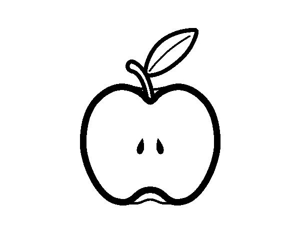 Coloriage de demi pomme pour colorier - Dessin pomme apple ...