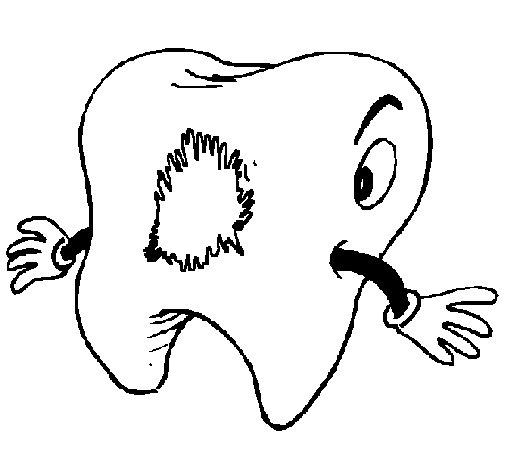 Coloriage de Dent cariée pour Colorier