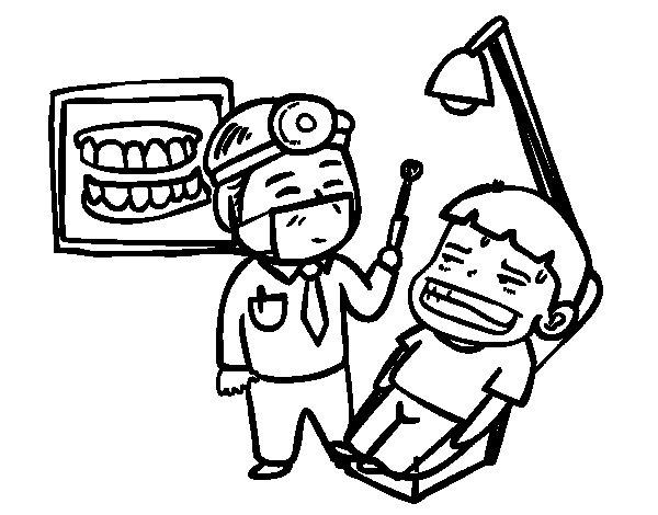 Coloriage de Dentiste avec patient pour Colorier