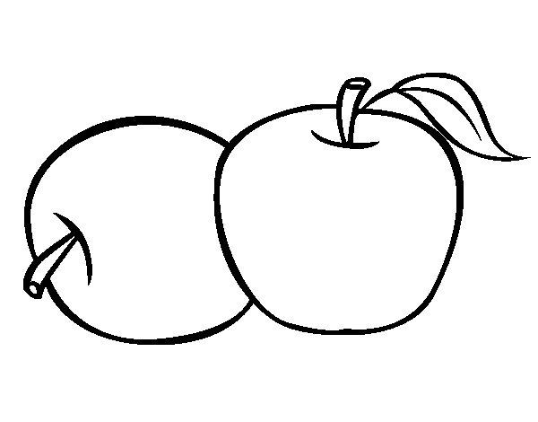 Coloriage de deus pommes pour colorier - Dessin pomme a colorier ...